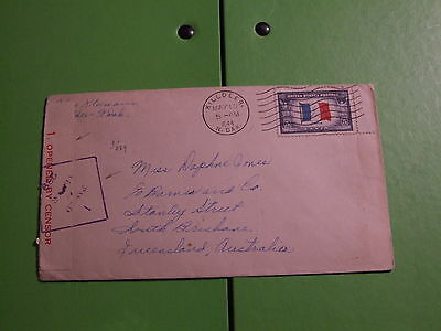 USA TO AUSTRALIA 10th MAY 1944 CENSOR STAMP COVER