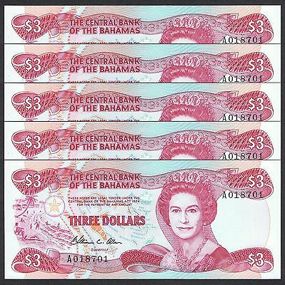 1974 (1984) Bahamas 3 Dollars P-44 Unc Lot 5 Pcs