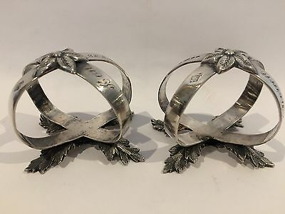 Antique Martin Hall Silver Plate Napkin Rings Holder Pair