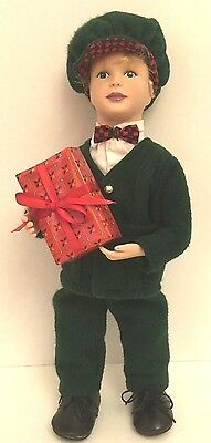 """Holiday Creations Boy Christmas 14""""    Stuffed Figure Posable Arms & Legs In Box"""