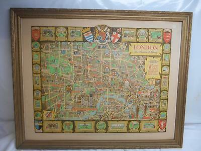 Old Vtg 1950's GREAT BRITAIN TOURIST DIVISION WALL MAP London  Bastion Liberty