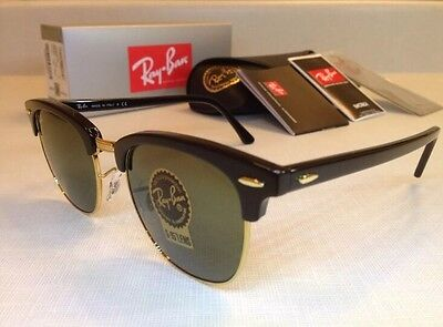 New Ray Ban Clubmaster Black RB3016 Gold Unisex Sunglasses 51mm