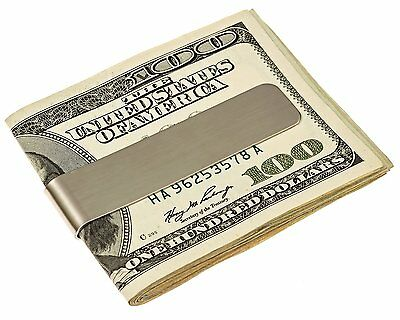 Stainless Steel Silver Double Sided Slim Pocket Cash ID Credit Card Clip Holder