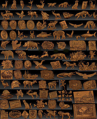 100 pieces Animals 3d stl model for CNC Router mill - VECTRIC RLF ARTCAM