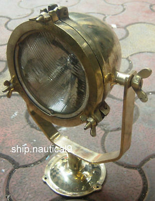 Vintage Marine Boat Brass Searchlight Spot Light With Stand 4Kg