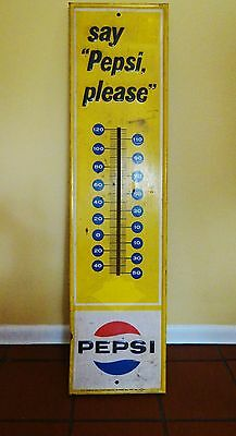 Large 1960s Vtg Tin Embossed Pepsi Thermometer Sign Stout Sign St Louis Soda Pop