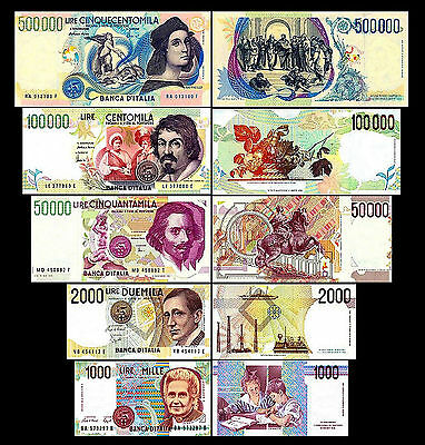 2x 1000 - 500000 Italian Lire - Issue 1990 - 1997 -10 Banknotes- Reproduction 01