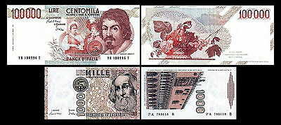 * * * 1.000, 100.000 Italian Lire - Issue 1982 - 1983 - 2 Banknotes - 03 * * *