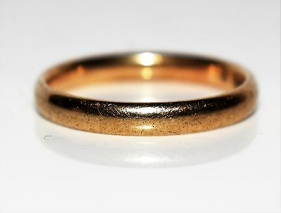 1940's 9ct Yellow Gold 3mm Wedding Band Ring Size N 1/2 ~ US 7 Utility Mark