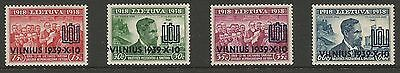 Lithuania Litauen 1939 MH Mi 433-436 Sc 310-313 Vilnius Recovery Overprinted iss