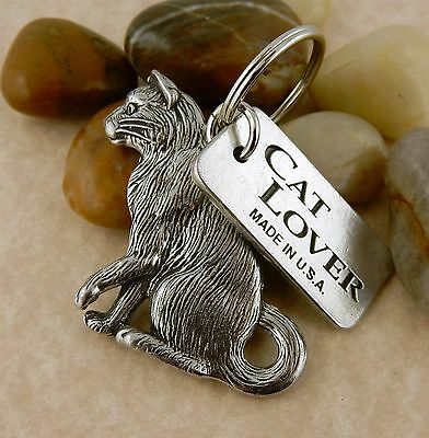 Pewter double sided Cat Lover keychain, Kitty Cat key tag