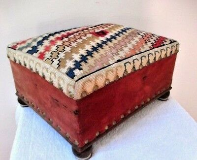 Vintage Needlepoint Foot Stool Wood Upholstered Brass Footed Country Bench