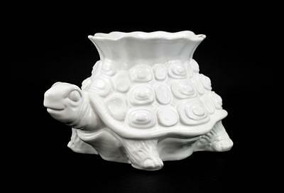Vintage Italian Glazed Ceramic White Turtle Planter Hollywood Regency