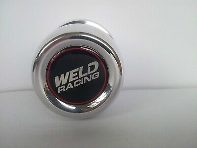 """Weld Racing Wheel Centre Caps 80mm ( 3.17"""") OD. Polished Alloy Set Of 4 Caps"""