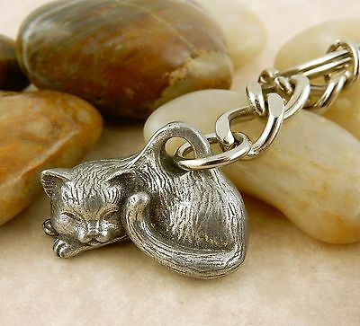 3D Kitty Cat Pewter Keychain Key tag, sleeping cat, napping cat