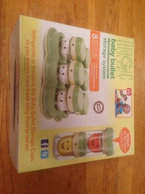 NEW ~ Baby Bullet Storage System 8 Piece Set with Bonus To Go Tube Magic Bullet