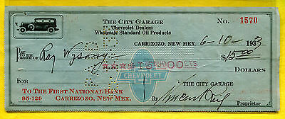 1933 Carrizozo New Mexico - The City Garage - Chevrolet Dealers - Check