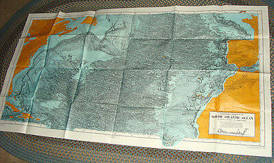 1968 Map Physiographic Diagram of the North Atlantic - Heezen Tharp Ocean Floor