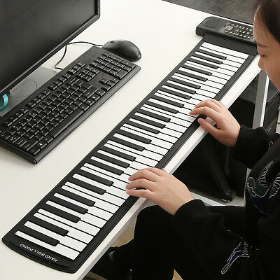 Portable Roll-Up 61 MIDI Soft Keys Flexible Electronic Piano Music Keyboard