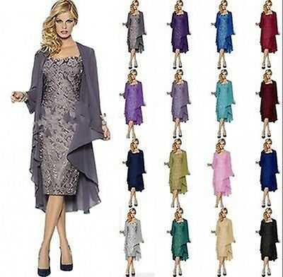 Lace Mother of the Bride Outfits Short Wedding Party Formal Dresses Free Jacket