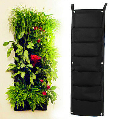 7-Pocket Felt Hanging Planter Bag Pouch Growbag Grow Strawberry Herbs Flowers