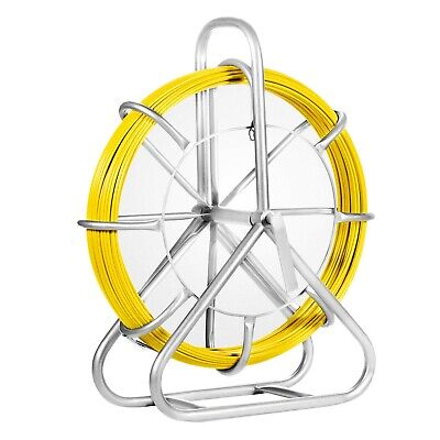 6Mm Fish Tape Fiberglass Wire Cable Sewer Duct Rodder With Cage And Wheel Stand