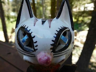 """Vintage 60's Cat Decanter """"Chianti"""" Italy Wrapped in Leather Original Nice 12"""""""