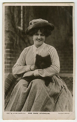 c 1907 British Edwardian Theater MARIE STUDHOLME w/ SAMOYED Puppy photo postcard