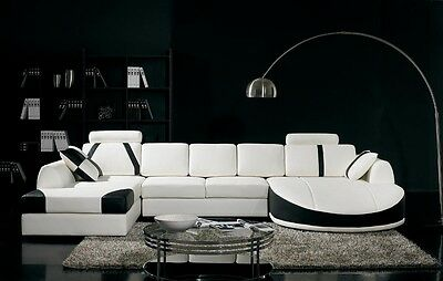 Chic Modern T57 White and Black Bonded Leather Sectional Sofa