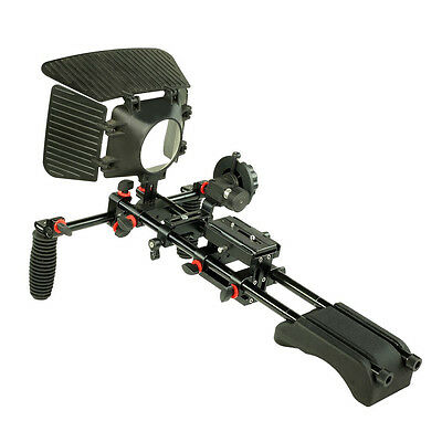 Filmcity DSLR Video Camera Shoulder mount Rig + MB-77 Matte Box V1 Follow Focus