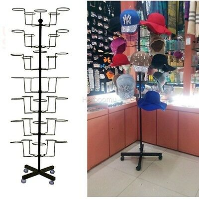 7 Tier Hat Display Floor Stand Retail Cap Easy Rotating Spinner Chrome Rack