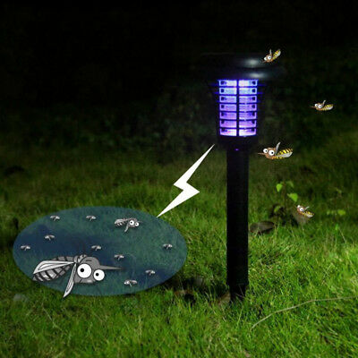 Solar Power Light Sensor LED Insect Zappers Mosquito Killer Lamp for Garden