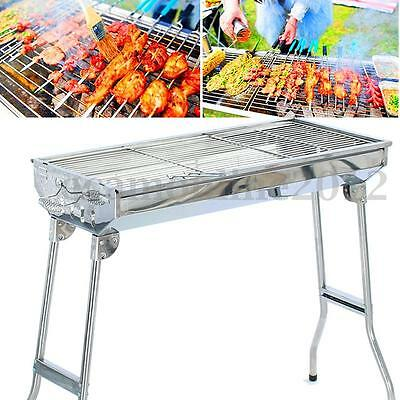 Stainless Steel Folding Barbecue Charcoal BBQ Grill Stand Outdoor Picnic Camping