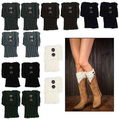 Womens Crochet Knit Button Trim Leg Warmers Cuffs Toppers Ankle Boot Socks Black