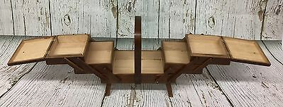 Vtg Accordion Wood Sewing Craft Box Basket Caddy Made in Romania Fold Out W/Legs