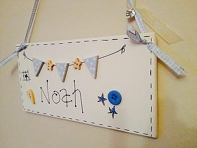 Personalised Wooden Bunting Name Sign Plaque Door Hanging Children's Gift Blue
