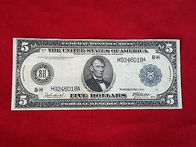 FR-872  1914 Series $5 Five Dollar St Louis Federal Reserve Note *Very Fine*