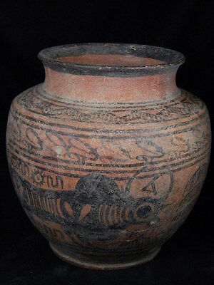Ancient Huge Size Teracotta Painted Pot With Bulls Indus Valley 2500 BC #PT15563