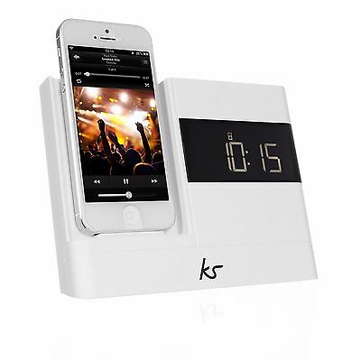Kitsound KSXDOCKWH XDOCK 30 PIN Clock Radio Docking Station For iPhone 4S- New