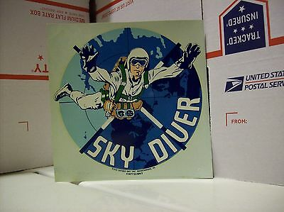 "Vintage SKY DIVER  DECAL new Skydiving 6"" x 6.5"""