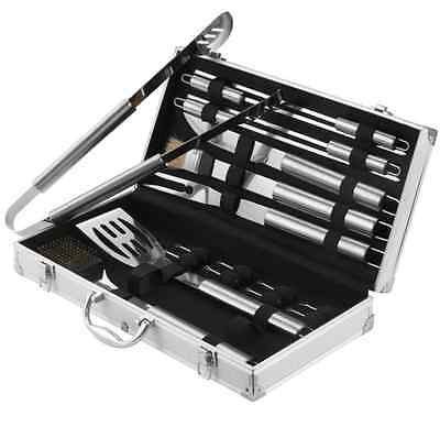 Barbecue Utensil Set 18 Piece Stainless Steel Grill Tool Garden Bbq Cooking Case