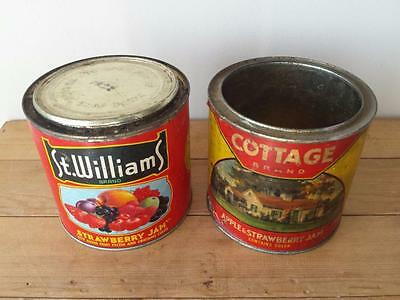 2 x Vtg 48oz Paper Label Jam Tins - St Williams & Cottage Brand, Simcoe, Ontario
