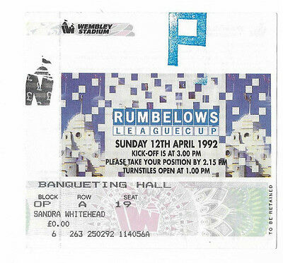 Ticket 1992 Rumbelows / League Cup Final - MANCHESTER UNITED v NOTTINGHAM FOREST