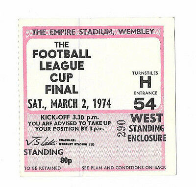 Ticket 1974 League Cup Final - WOLVERHAMPTON WANDERERS v. MANCHESTER CITY