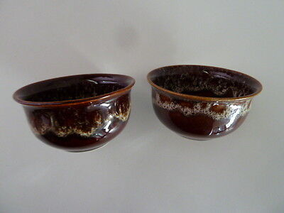 Fosters South West Cornwall Brown Honeycomb Pottery 2 X Small Dishes[6Cm Tall]