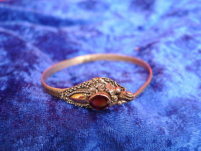beautiful, old bracelet__925 Silver with glold__Snake__with red stone__Bracelet