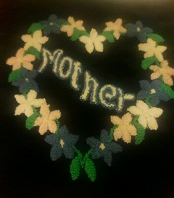 """Vintage 1940's Hand Punched Floral Pillows  Top """" MOTHER """""""