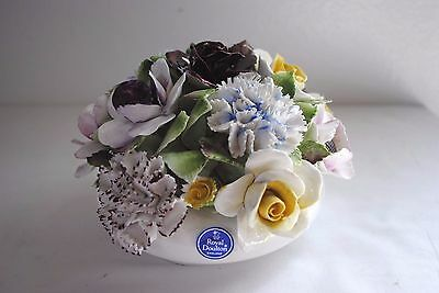 Royal Doulton Handcrafted Bone China Porcelain Flower Bouquet In Bowl England