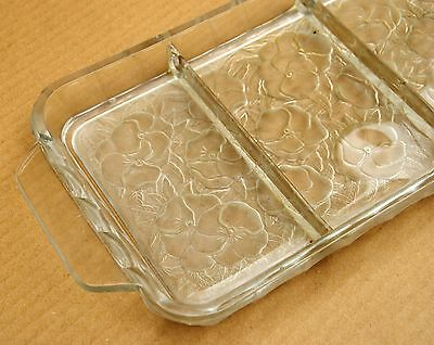 vintage french art deco glass serving tray dish 4 compartments flowers deco