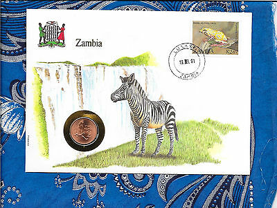 E Coins of All Nations Zambia 1983 2 Ngwee UNC KM#10a Martial Eagle